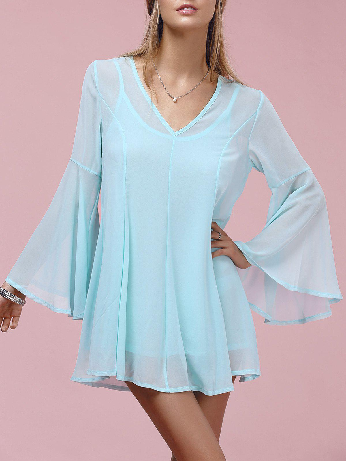 Stylish Women's V-Neck Bell Sleeve Chiffon Dress Twinset