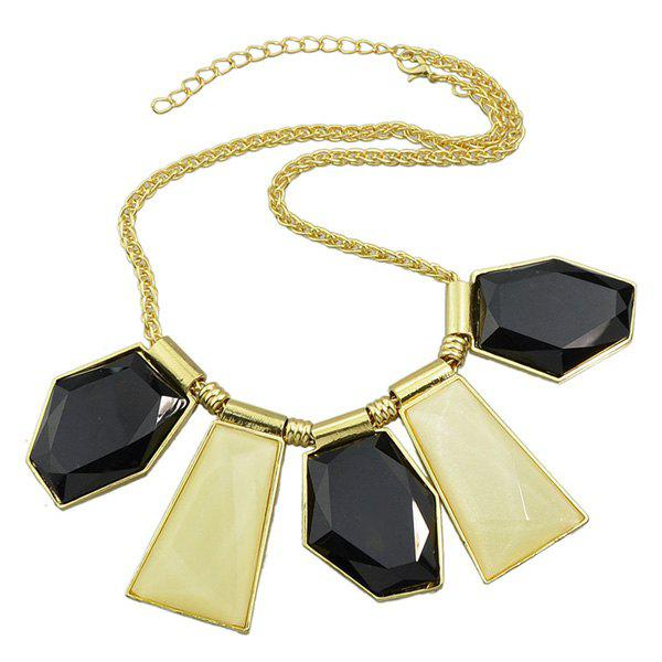 Chic Style Artificial Gem Geometric Necklace For Women - GOLDEN