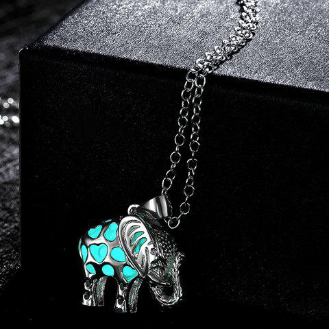 Cut Out Elephant Noctilucent Pendant Necklace - CYAN
