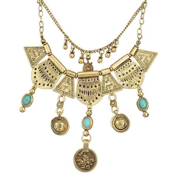 Vintage Layered Faux Turquoise Geometric Necklace For Women - GOLDEN