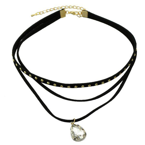 Water Drop Rivet Layered Choker Necklace - BLACK