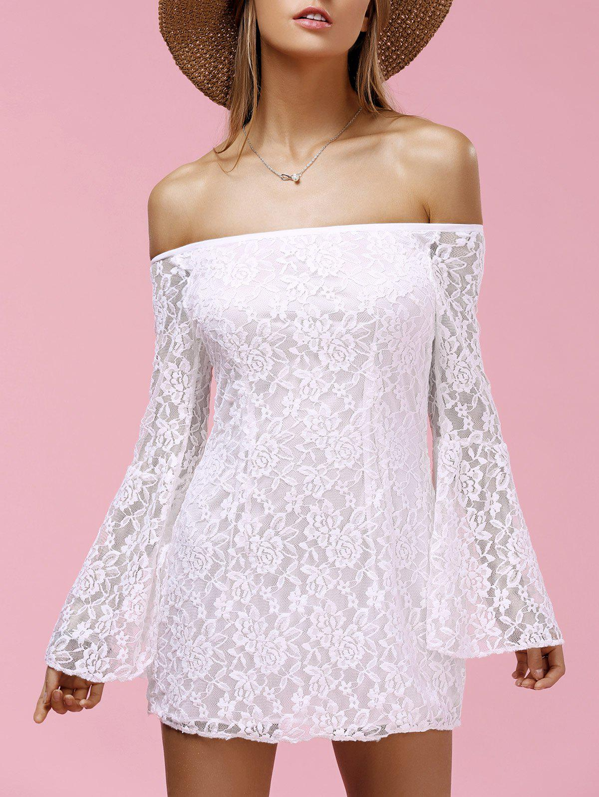 Stylish Women's Off The Shoulder Bell Sleeve Lace Dress - WHITE XL