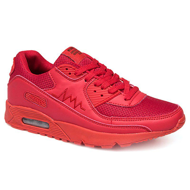 Leisure Solid Color and Mesh Design Men's Athletic Shoes - RED 41
