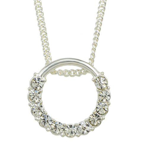Rhinestoned Circle Pendant Necklace - SILVER