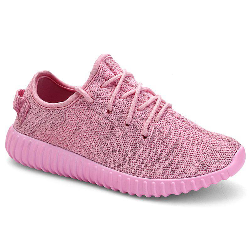 Casual Lace-Up and Mesh Design Women's Sneakers - PINK 38