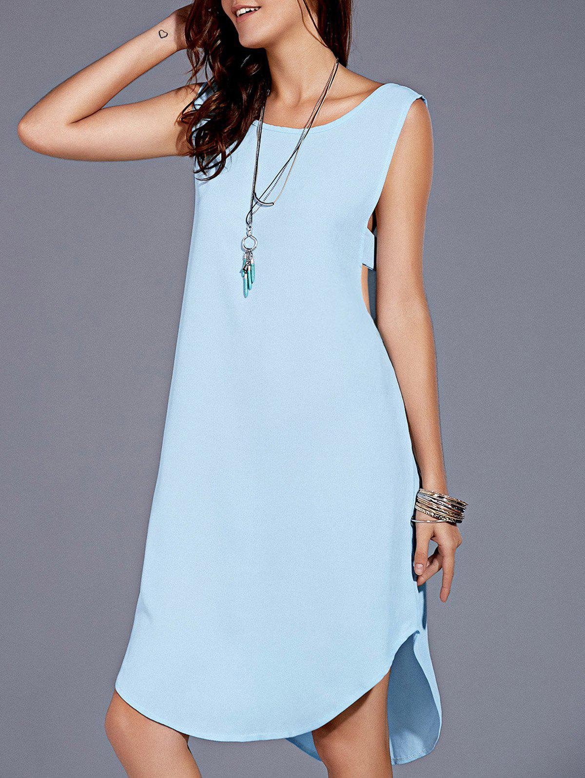 Stylish Women's Scoop Neck Backless High Low Dress - LIGHT BLUE XL