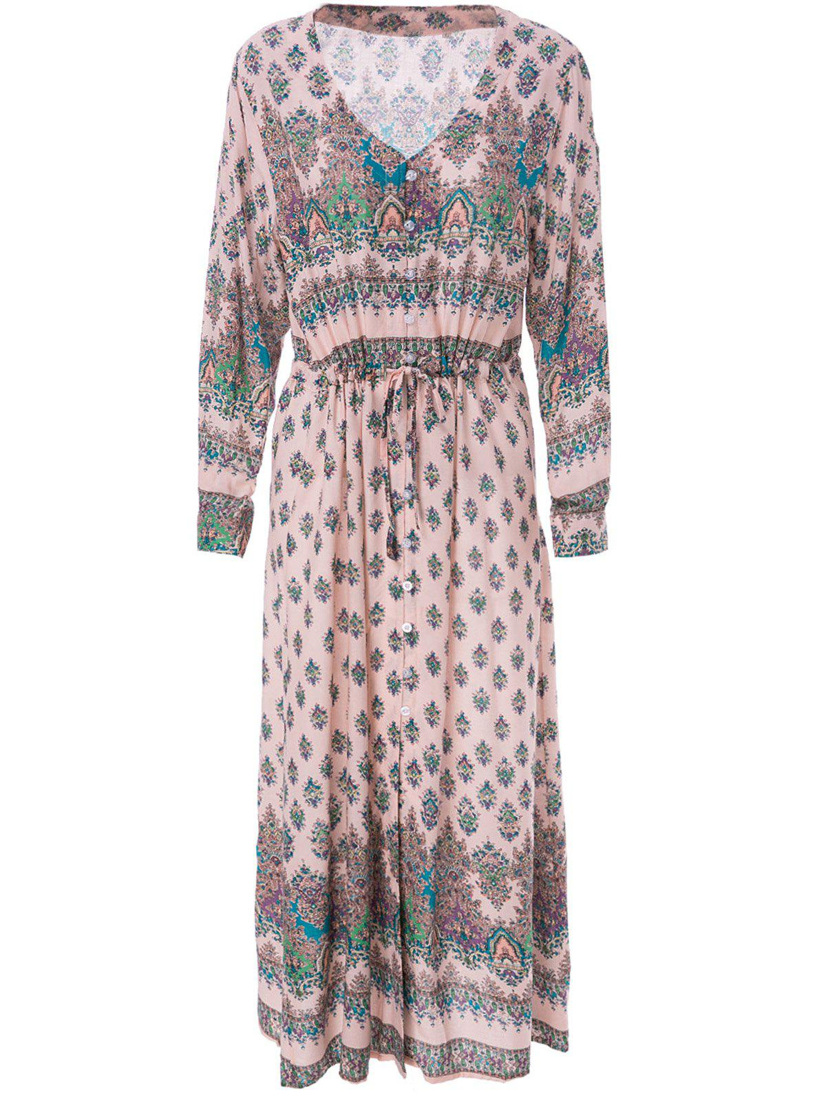 Bohemian 3/4 Sleeve V-Neck Printed Women's Dress - LIGHT PINK L