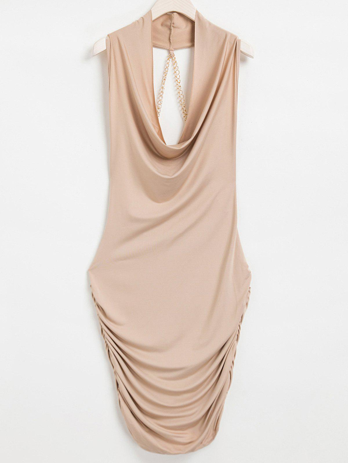 где купить Sexy Style Cowl Neck Sleeveless Solid Color Draped Chain Embellished Women's Dress дешево