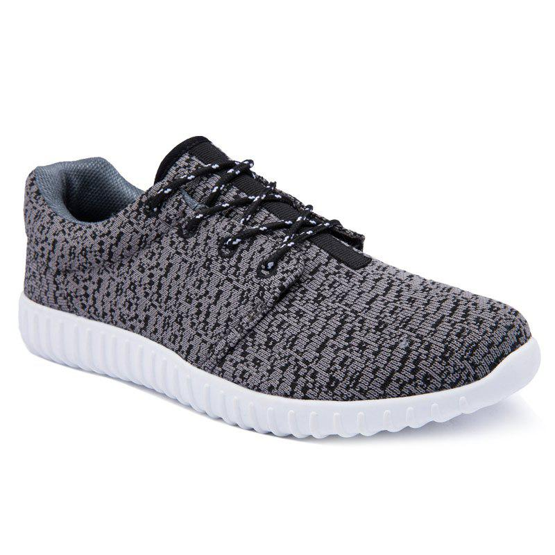 Leisure Lace-Up and Round Toe Design Men's Athletic Shoes - BLACK 44