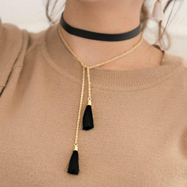 Faux Leather Tassel Sweater Chain - BLACK