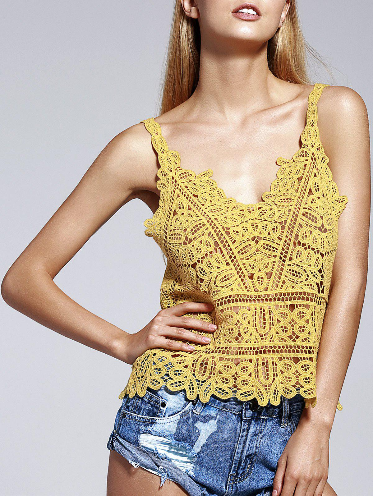 Stylish Women's Spaghetti Strap Crochet Top - GINGER ONE SIZE(FIT SIZE XS TO M)