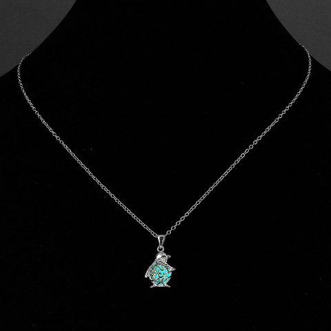 Chic Cut Out Penguin Noctilucent Necklace For Women - CYAN