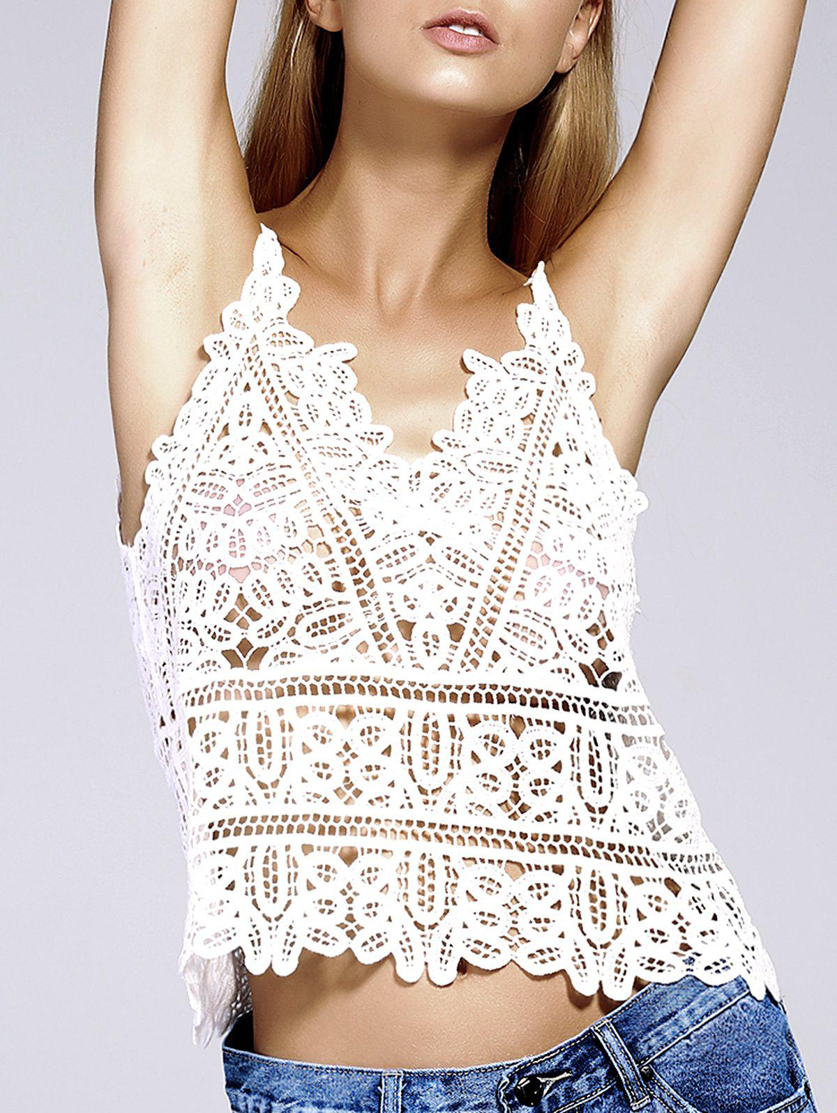 Stylish Women's Spaghetti Strap Crochet Top - WHITE ONE SIZE(FIT SIZE XS TO M)