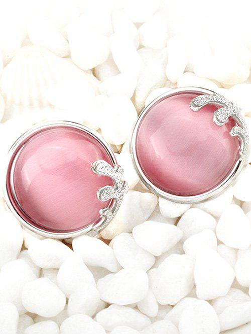 Chic Glitter Powder and Faux Gem Embellished Stud Earrings For Women - SILVER