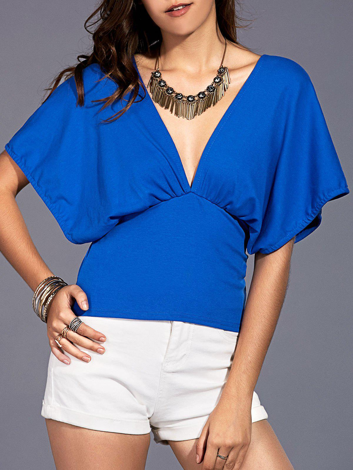 Stylish Women's Plunge Neck Kimono Sleeve Top - BLUE ONE SIZE(FIT SIZE XS TO M)
