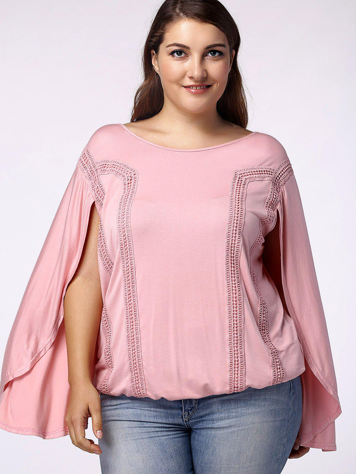 Trendy Scoop Neck Bat Sleeves Backside Hollow Out Blouse For Women - LIGHT PINK XL