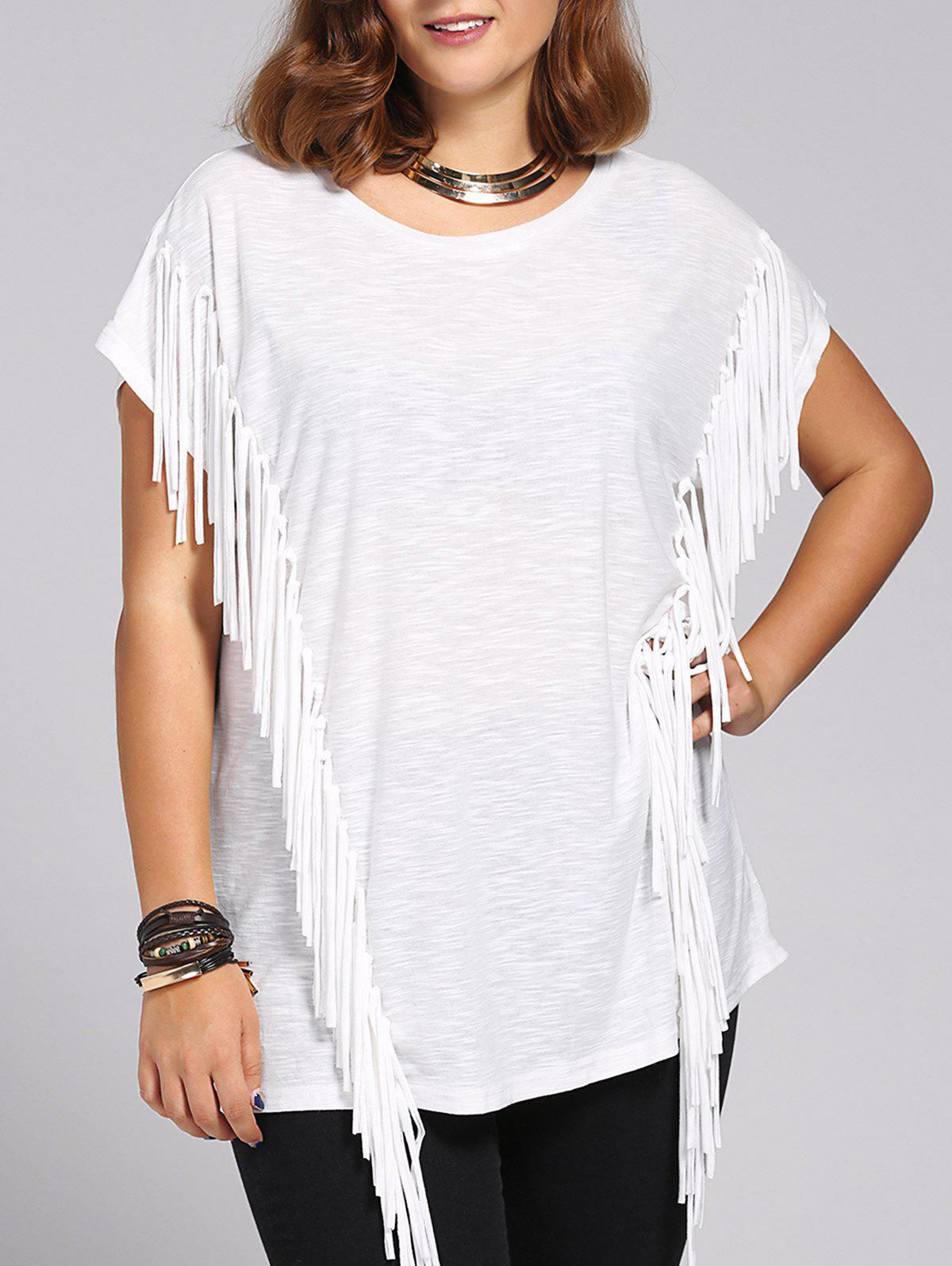 Trendy Short Sleeves Jewel Neck Fringed T-Shirt For Women - WHITE 4XL