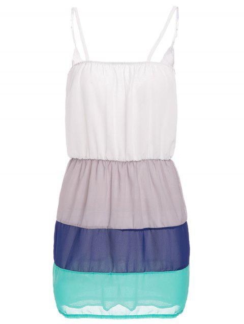 Sweet Women's Spaghetti Strap Color Block Summer Dress - WHITE XL