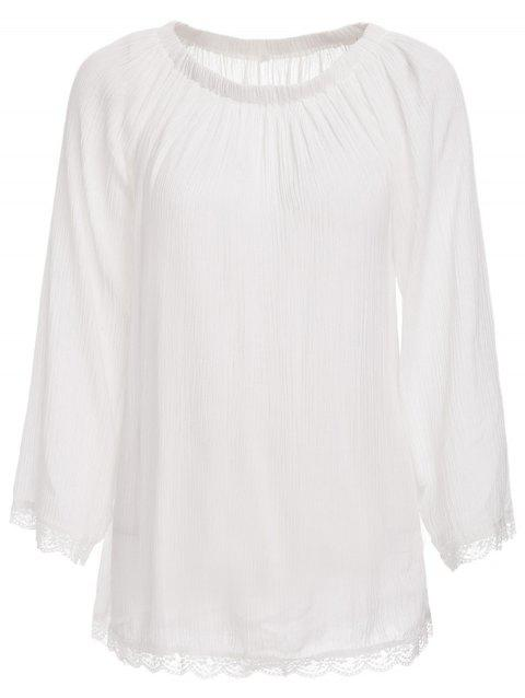 Trendy Off The Shoulder Long Sleeve See-Through Cover-Up For Women - WHITE L