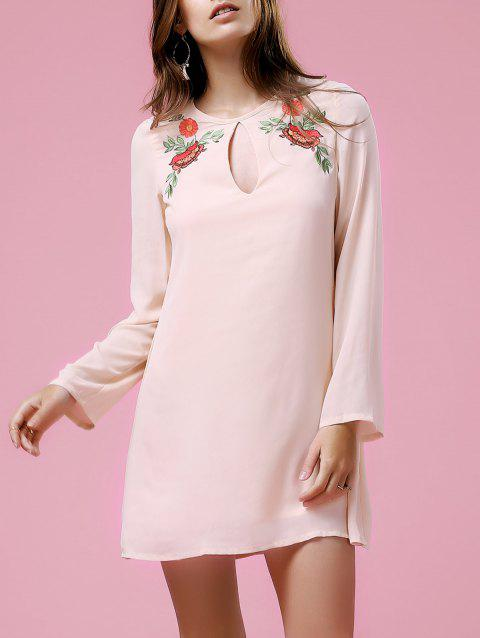 Casual Women's Long Sleeve Round Neck Floral Embroidery Dress - LIGHT PINK S