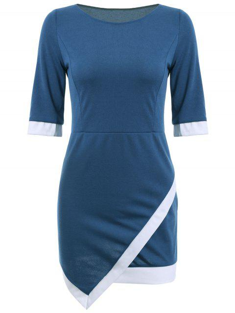 Mini Asymmetric Sheath Dress - BLUE XL