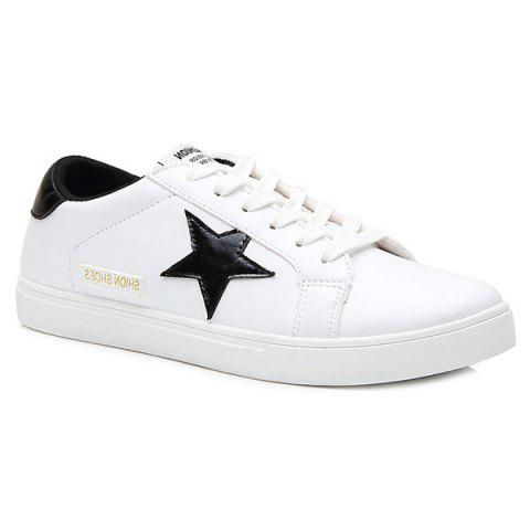 Stylish Colour Block and Star Design Men's Casual Shoes - WHITE/BLACK 43