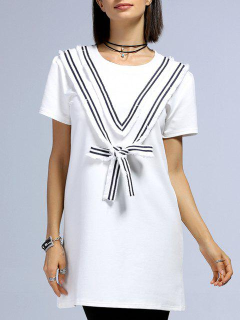 Stylish Women's Short Sleeve V Pattern Design Spliced T-Shirt - WHITE ONE SIZE(FIT SIZE XS TO M)