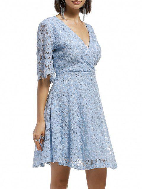 Plunging Neck Surplice Floral Lace Dress - LIGHT BLUE ONE SIZE(FIT SIZE XS TO M)