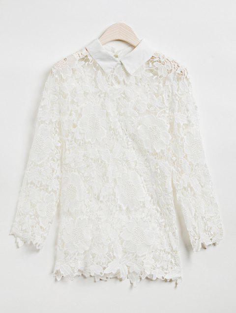 Stylish Lace Splicing 3/4 Sleeve Blouse For Women - WHITE M