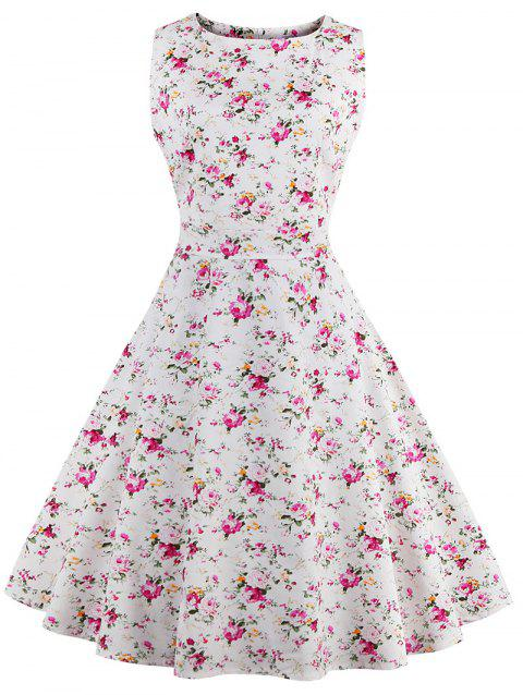 Sleeveless Tiny Floral 50s Swing Dress - WHITE M