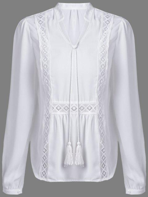 Alluring Women's V-Neck Long Sleeve Hollow Out White Blouse - WHITE L