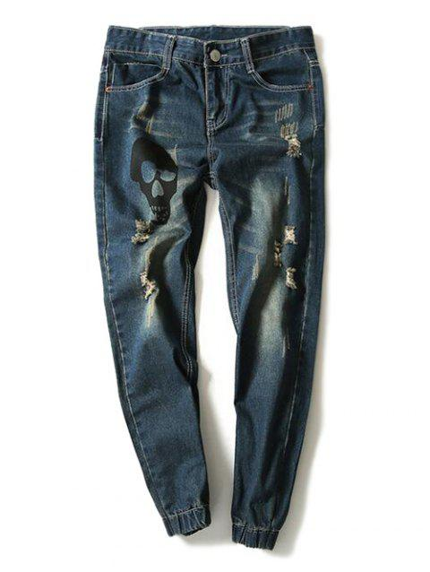Skull Printed Distressed Jogger Jeans - BLUE 34