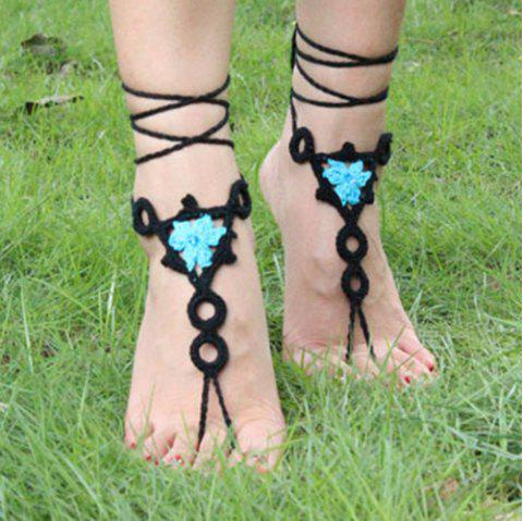 Pair of Gorgeous Floral Round Woven Girl Sandal Anklets - BLUE/BLACK