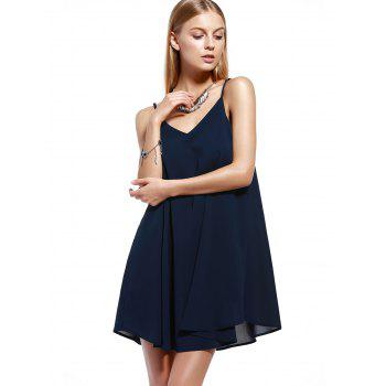 Chic Spaghetti Strap Pleated Dress For Women - CADETBLUE XL