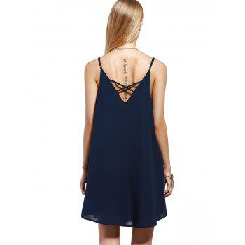 Chic Spaghetti Strap Pleated Dress For Women - CADETBLUE M