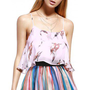 Trendy Pink Spaghetti Strap Birds Print  Tank Top For Women