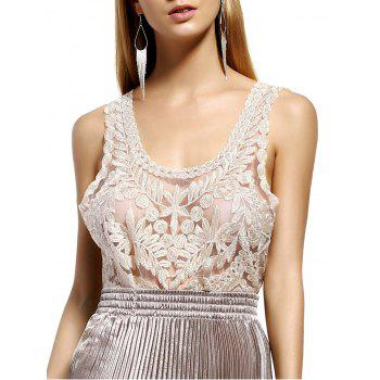 Stylish Women's Scoop Neck Silk Thread Lace See-Through Sleeveless Blouse