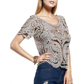 Stylish Women's Scoop Neck Silk Thread Lace See-Through Short Sleeves Blouse