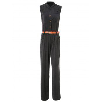 Elegant Women's Stand Collar Candy Color Sleeveless Jumpsuit - BLACK S