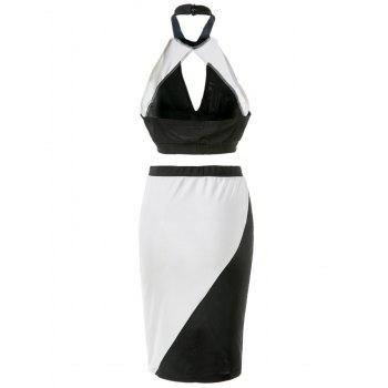 Trendy Hit Color Hollow Out Crop Top + Skirt Suit For Women - BLACK S