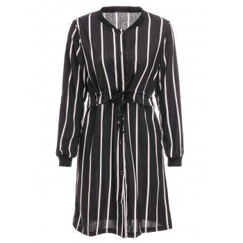 Brief Women's Stand Collar Vertical Stripe Long Sleeve Dress