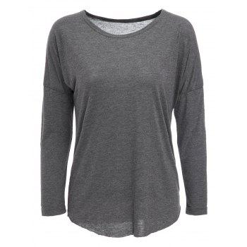 Casual Long Sleeve Cotton Blend Gray Pullover T-Shirt For Women