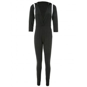 Stylish Hooded 3/4 Sleeve Plunging Women's Jumpsuit