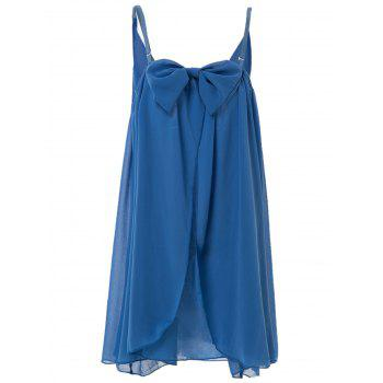 Trendy Spaghetti Strap Solid Color Bowknot Design Women's Chiffon Dress