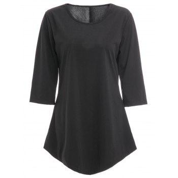 Chic 3/4 Sleeve Round Neck Pure Color Asymmetrical Women's T-Shirt
