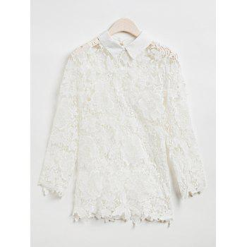 Stylish Lace Splicing 3/4 Sleeve Blouse For Women