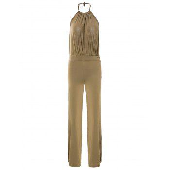 Sexy Women's Halter Backless Solid Color Jumpsuit