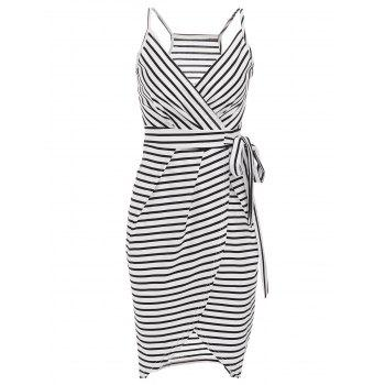 Chic Sleeveless Plunging Neck Asymmetrical Striped Women's Dress