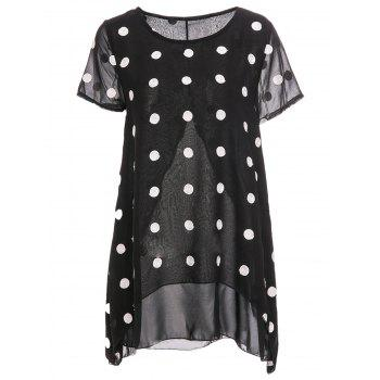 Stylish Scoop Neck Short Sleeve Chiffon Polka Dot Blouse For Women