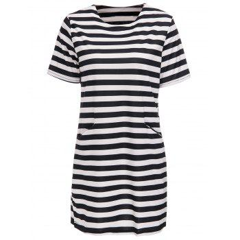 Stylish Jewel Neck Striped Short Sleeve Dress For Women
